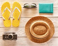 Travel and beach items flat lay Royalty Free Stock Photo