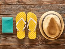 Travel and beach flat lay Royalty Free Stock Photo