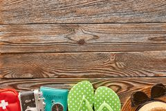 Travel and beach items still life Stock Images