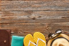 Travel and beach items still life Stock Photography