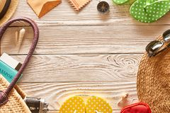 Travel and beach items still life. Over wooden background Stock Photo
