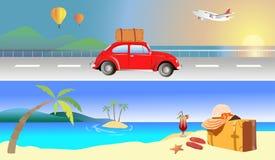 Travel beach sea. Car cocktail aircraft summer naturel Royalty Free Stock Photo