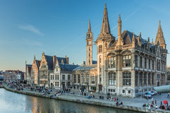 Travel Belgium medieval european city town background with canal Royalty Free Stock Photo