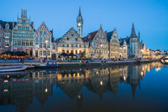 Travel Belgium medieval european city town background with canal Royalty Free Stock Images