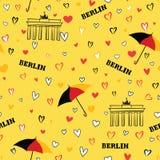 Travel Berlin city seamless pattern. German vacation wallpaper. Royalty Free Stock Photo