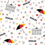 Travel Berlin city seamless pattern. German vacation wallpaper. Stock Image