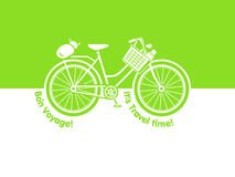 Travel bicycle. Postcard with picnic basket and cat Royalty Free Stock Photos