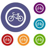 Travel by bicycle is prohibited traffic sign icons Royalty Free Stock Photos