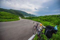 Travel by the bicycle on the Sado island Royalty Free Stock Photography