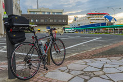 Travel by the bicycle on the Sado island Stock Images