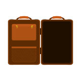 Travel big suitcase brown opened with handle Royalty Free Stock Photo