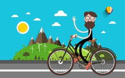 Travel on Bike. Man on Bicycle. Nature Landscape Vector Flat Design Illustration Royalty Free Illustration