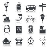Travel black icons set Royalty Free Stock Photography