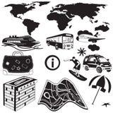 Travel black icons Stock Image