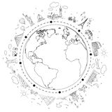 Travel black and white sketch. Earth with attractions and trip transport. Vector illustration. stock illustration