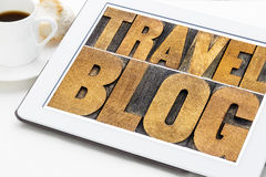 Travel blog typography on tablet Stock Photo