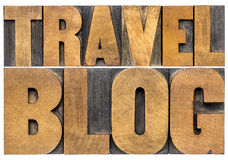Travel blog typography in wood type. Travel blog typography - isolated word abstract in letterpress wood type Royalty Free Stock Images