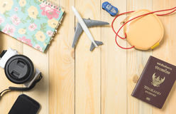 Travel blogger equipments on wooden table. With copy space Royalty Free Stock Image