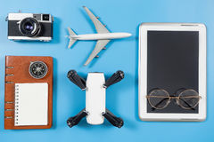 Travel blogger technology objects and gadgets. On blue Stock Photo