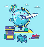 Travel blogging. Illustration for travel bloggers. Globe with marks and places, plabe, backpack, travel map, books, palms and mountains. Cool concept for travel Royalty Free Stock Images