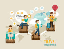 Travel board game flat line icons concept infographic step to wo Royalty Free Stock Photography