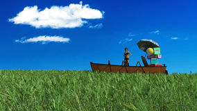 Travel with boat and baggage. 3d illustration of a boat sailing through a wheat field Royalty Free Stock Photos
