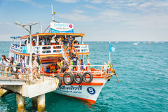 Travel boat. This boat is from Pattaya beach come to Koh-Larn island (the sub island of Pattaya) with many nationality traveler. The looks of Thailand travel royalty free stock image