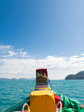 Travel boat prow on blue sea and sky in summer Royalty Free Stock Images