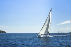 Travel. Boat in sailing regatta. Luxury yachts. Royalty Free Stock Image
