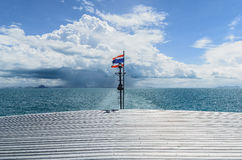 Travel by boat. The sea view from the stern stock images