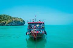 Travel boat  stop at small island  ,Koh Samui ,Thailand. Travel boat stop at small island ,Travel concept background  , Koh Samui ,Thailand stock images
