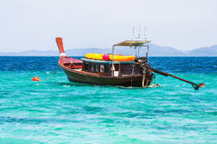 Travel boat on Thailand island beach. royalty free stock photography