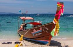 Travel boat on Thailand island beach. royalty free stock image