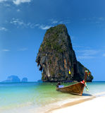 Travel boat on Thailand island beach. Tropical coast Asia landscape background royalty free stock image