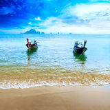 Travel boat on Thailand island beach. Tropical coast Asia landsc. Ape background Royalty Free Stock Image