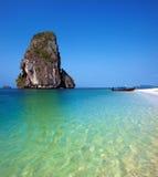 Travel boat on Thailand island beach. Tropical coast Asia landsc. Ape background Stock Photography