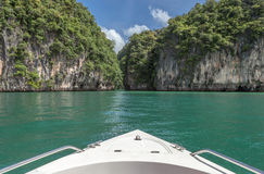 Travel by boat to beautiful southern sea of Thailand Stock Photos