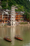 Travel boat waiting passenger in Fenghuang ancient city. Royalty Free Stock Image