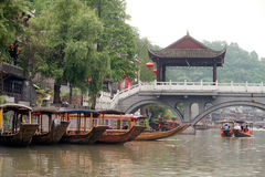 Travel boat waiting passenger in Fenghuang ancient city. Stock Photography