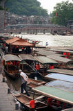 Travel boat waiting passenger in Fenghuang ancient city. Stock Images