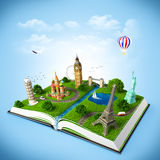 Travel book. Illustration of a opened book with famous monuments. traveling Royalty Free Stock Images