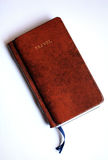 Travel book with a leather hard cover. A picture of my travel book, which has a nice handmade leather hard cover Royalty Free Stock Photography