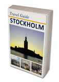 Travel Book Stockholm. Imaginary travel book Stockholm. Isolated on white stock images