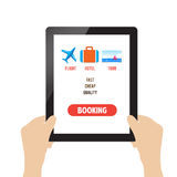 Travel booking online on tablet Royalty Free Stock Image