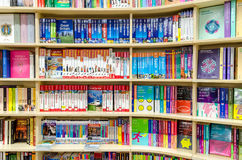 Travel Books. Library Bookshelf With Modern Travel Titles royalty free stock image