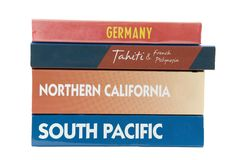 Travel books. Isolated travel books of different destinations Royalty Free Stock Image