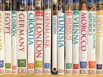 Travel Books For Sale On Library Shelf Stock Photo