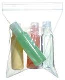 Travel bottles, kit, plastic Stock Photos