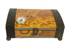Travel Box and Compass Stock Images