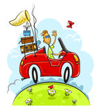 Travel boy drive car. Illustration isolated on white background Royalty Free Stock Photography